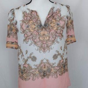 blouse flowers print sz XS